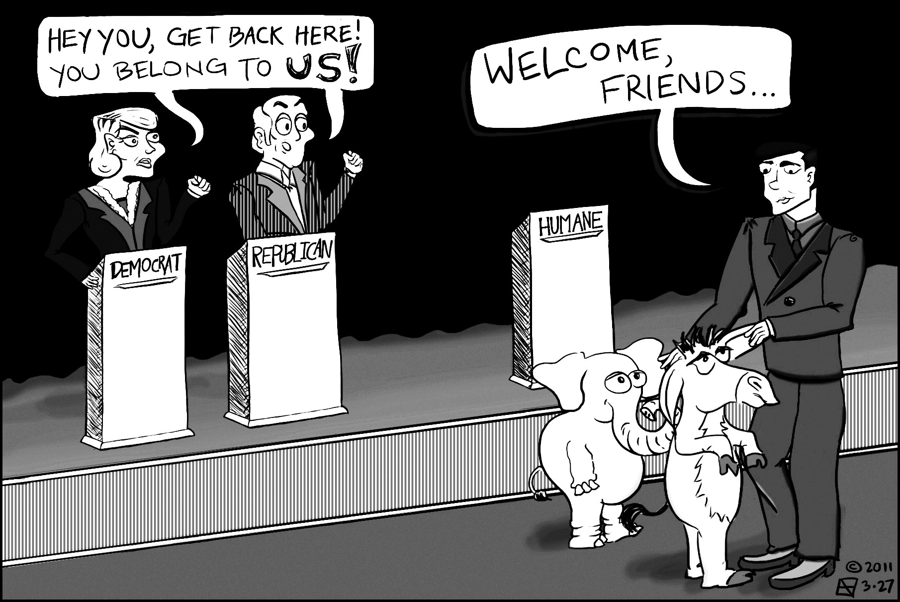 Editorial cartoon (dated 03.27.2011) by Laine Gieser