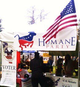 The Humane Party, America's first animal rights party, hosts a booth at WorldFest , 2011, in Los Angeles County, California.