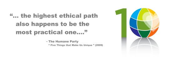 Humane Party 10th Birthday logo by Chris Censullo with quotation